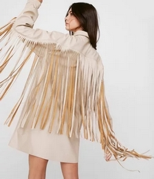 Faux Leather Fringe Mini Shirt Dress