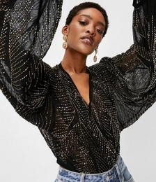 Beaded V Neck Batwing Sleeve Blouse