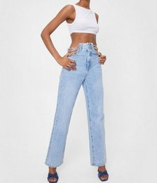 Chain Detail High Waisted Straight Leg Jeans