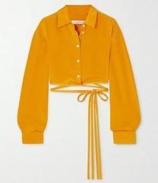 Tie-detailed Silk-satin Shirt