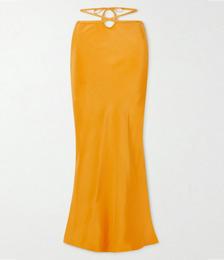 Tie-detailed Silk-satin Maxi Skirt