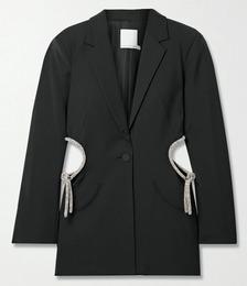 Crystal-embellished Cutout Wool-blend Blazer