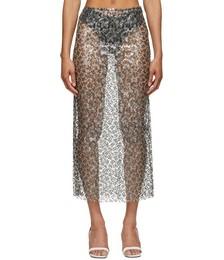Silver & Black Sequined Column Skirt