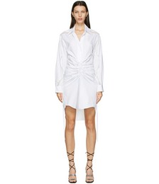 White Cummerbund Lace Shirt Dress