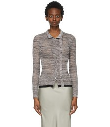 Brown Mesh Double Button Cardigan