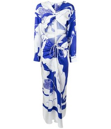 Graphic-print Ruched Maxi Dress