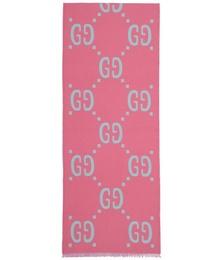 Blue & Pink Jacquard Wool GG Scarf