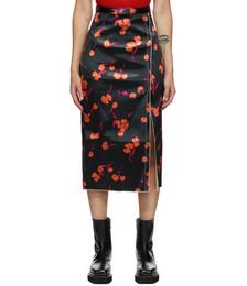 Black Bonded Satin Daisy Skirt