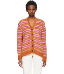 Orange Mohair Striped Cardigan