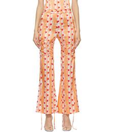 Orange Silk Coral Trousers