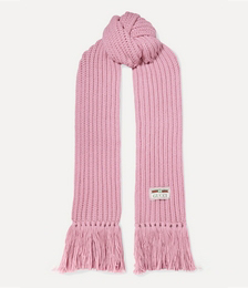 Ribbed Fringed Wool Scarf