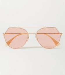 Aviator-style Gold-tone Metal Sunglasses