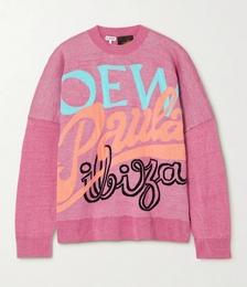 + Paula's Ibiza Oversized Jacquard-knit Linen-blend Sweater