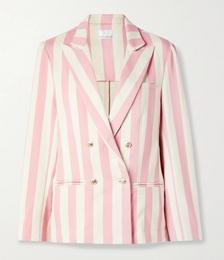 Chiara Double-breasted Striped Cotton-twill Blazer