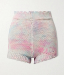 Karrisa Scalloped Tie-dyed Cotton-blend Shorts