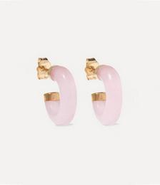14-karat Gold Rose Quartz Hoop Earrings