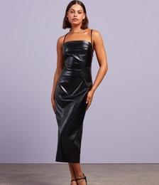 Dare To Be Different PU Midi Dress