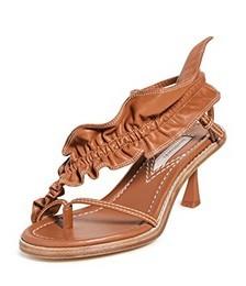 Skinny Strap Ruffle Heel Sandals