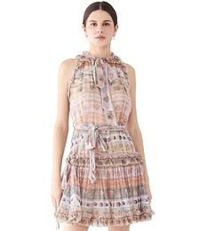 Luminous Ribbon Swing Mini Dress