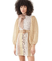 Linen Spliced Mini Dress