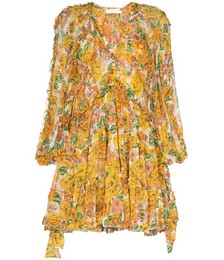 Floral Print Silk V-neck Dress