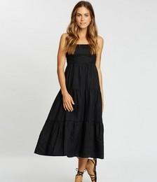 Tiered Linen Midi Dress