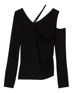Black Asymmetric Jersey Top