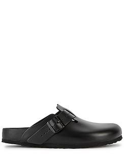 X Birkenstock Boston Black Leather Sliders