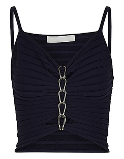 Navy Chain-embellished Ribbed-knit Top