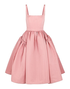 Pink Faille Midi Dress
