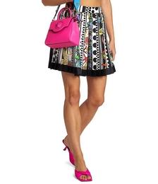 Trésor Pinstripe Printed Pleated Silk Mini Skirt
