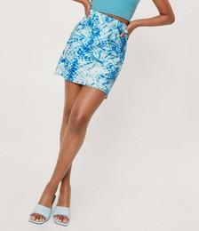 Tie Dye Satin Bias Mini Skirt