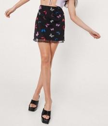 Butterfly Print Mesh Mini Skirt