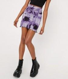Tie Dye Mesh Mini Skirt
