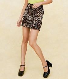 Swirl Print Mesh Mini Skirt
