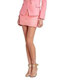 High-Waist Buttoned Tweed Skirt