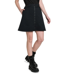 Diamond Quilted Jersey Front Zip Skirt