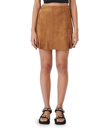 Jendrie Ruffle Suede Mini Skirt