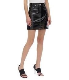 Leather Five-Pocket Mini Skirt