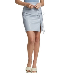 Zow Ruched Vegan Leather Mini Skirt