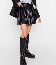 Faux Leather Pleated High Waisted Mini Skirt