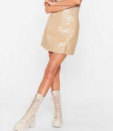 Faux Leather Croc Slit Mini Skirt