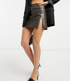 Faux Leather Mini A-line Skirt in Chocolate Co-ord
