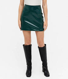 Lucy Faux Leather Mini Skirt in Green