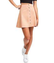 Into The Woods Blush Leather Mini Skirt