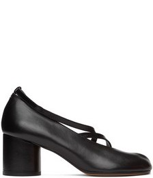 SSENSE Exclusive Black Exposed Toe Ankle Strap Tabi Sandals