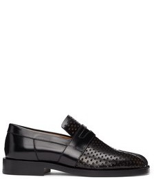 Black Perforated Tabi Loafers