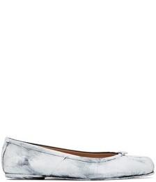 White Painted Tabi Ballerina Flats