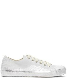 Grey & Silver Leather Paint Tabi Sneakers