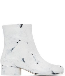 Black & White Painted Tabi Low Heel Boots